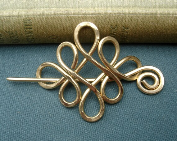Brass Looping Crossed Knots Celtic Shawl Pin, Scarf Pin, Sweater Clip Brooch, Hair Pin, Gifts for Knitters Knitting Accessories, Women