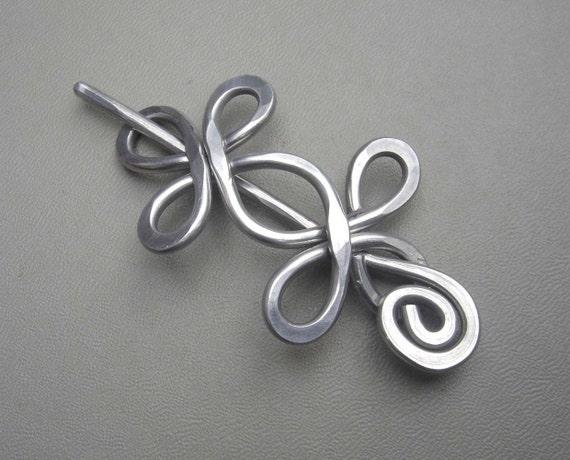 Celtic Double Crossed Loops Aluminum Shawl Pin, Hair Pin, Scarf Pin, Shrug Closure, Fastener, Sweater Brooch, Barrette - Aluminum Metal Wire