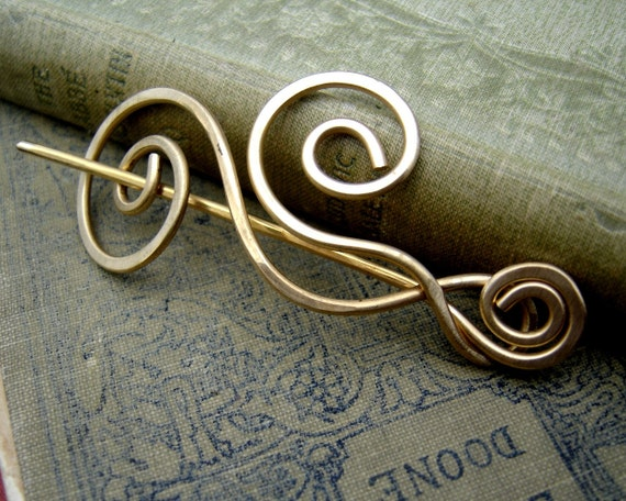 Brass Dancing Waves and Swirls Shawl Pin, Hair Pin, Scarf Pin, Sweater Clip, Brooch, Hair Accessories, Knitting Accessory, Jewelry, Women