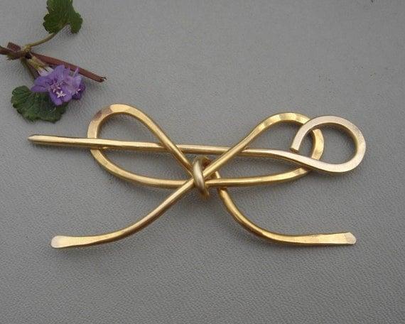 Brass Bow Shawl Pin, Sweater Clip, Closure, Brooch, Bowtie, Hair Pin, Scarf Pin, Shrug Fastener, Hair Accessories, Barrette, Hair Slide