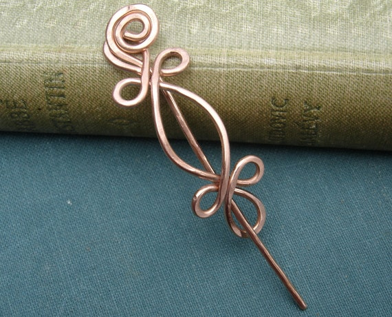 Little Celtic Double Crossed Loops Copper Shawl Pin, Scarf Pin, Sweater Brooch - Celtic Pin - Celtic Accessory - Lace Shawl Pin Accessories