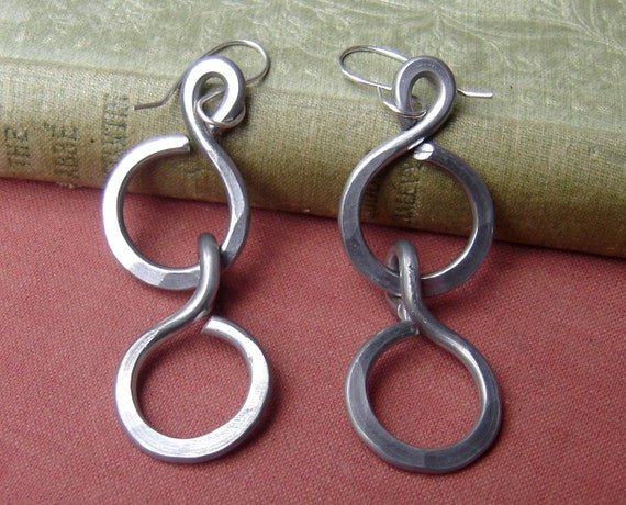 Big Long Chunky Chain Earrings - Light Weight Aluminum Wire Jewelry - Hammered Hoops -Unique- Handmade- Very Big Earrings, Dangle Earring