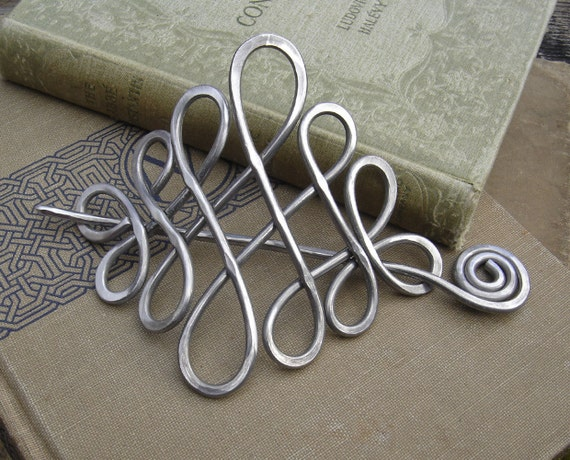 Large Looping Celtic Crossed Knots Aluminum Hair Pin, Barrette, Hair Slide, Clip, Shawl Pin - Long Hair Accessories, Celtic Knot Accessory