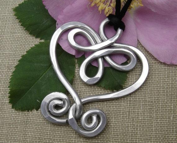 Big Celtic Heart and Swirls Lightweight Aluminum Pendant