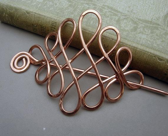Large Celtic Looping Cross Knots Copper Hair Pin, Barrette, Hair Slide, Hair Clip, Shawl Pin, Long Hair Accessories, Women, Accessory