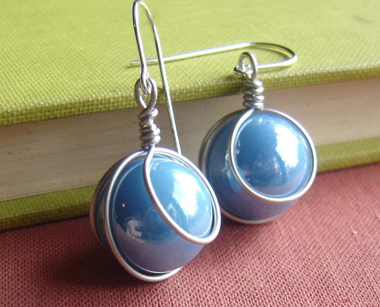 Turquoise sky blue glass marble earrings marble jewelry for How to make marble jewelry
