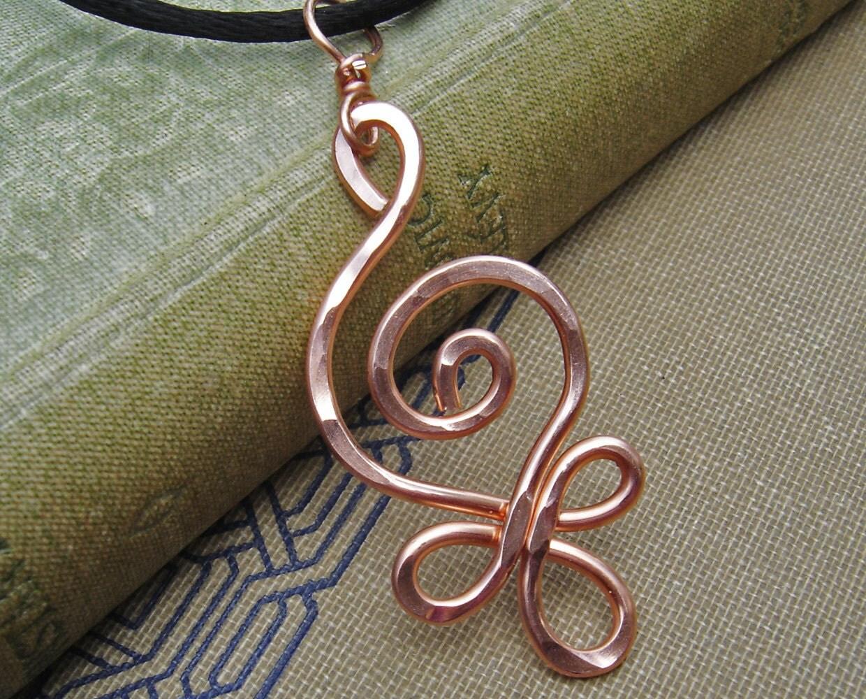 Celtic Budding Spiral Copper Pendant Celtic Copper Necklace