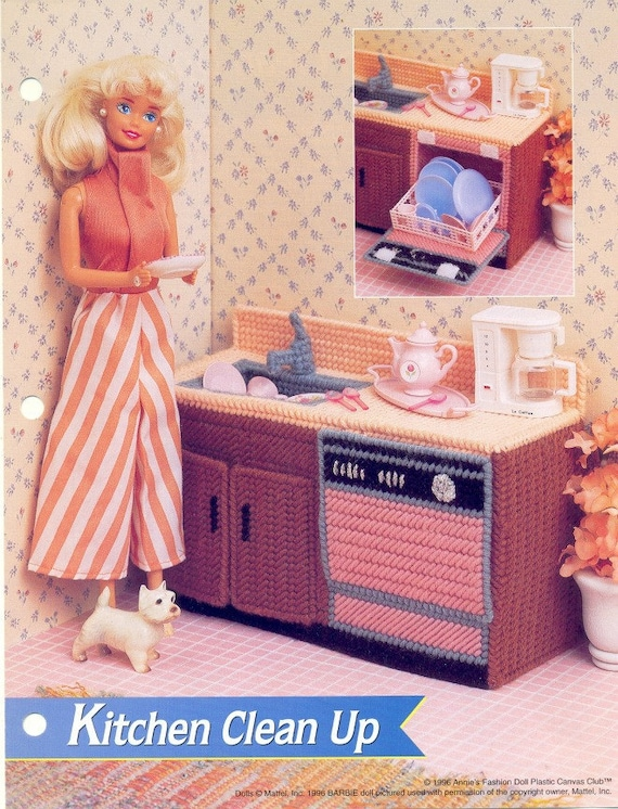 Plastic Canvas Pattern Fashion Doll Kitchen Cleanup For Dolls