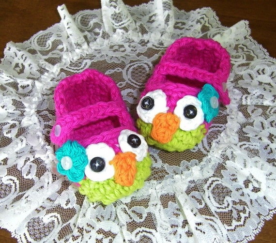 Owl Baby Booties Crochet Handmade Baby Slippers Baby Shoes