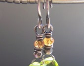 Green Peridot Earrings Tiny Orange Gemstones- Mint Melody