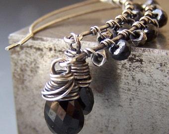 Black Earrings Spinel Gemstones Boutique Sterling Silver - Cinder
