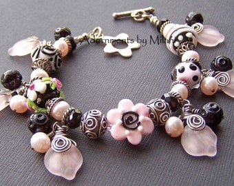 Pink Black Bracelet Flower Glass Beaded Wrist Lei Artisan -Puanani