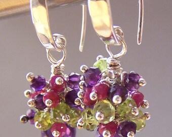 Amethyst Ruby Peridot Earrings Gem Stones- Jardin de Monet