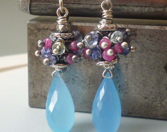 Blue Pink Earrings Gemstones Ruby Aquamarine Beaded -Boysenberry