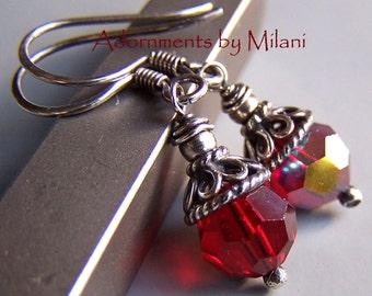 Red Earrings Swarovski Crystal Sparky Sterling Silver Rustic Darkened Vintage Appearance