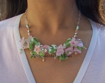 Pink and Green Heart Necklace Eclectic Beaded Glass Flower Bold Statement Valentine Kawaii