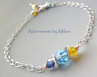 Sky Blue Yellow Bridesmaid Bracelet Wedding Jewelry Matching Set Beaded Crystal