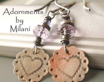 Purple Earrings Heart Light Amethyst Gemstone Beaded - Lavender Blossoms