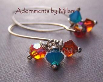 Orange Red Blue Earrings Sterling Silver Beaded - Santa Fe Sunset