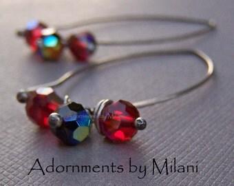 Red Black Crystal Earrings Sterling Silver Beaded