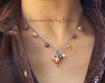 Orange Brown Necklace Pearl Yellow Autumn - Ode to Summer