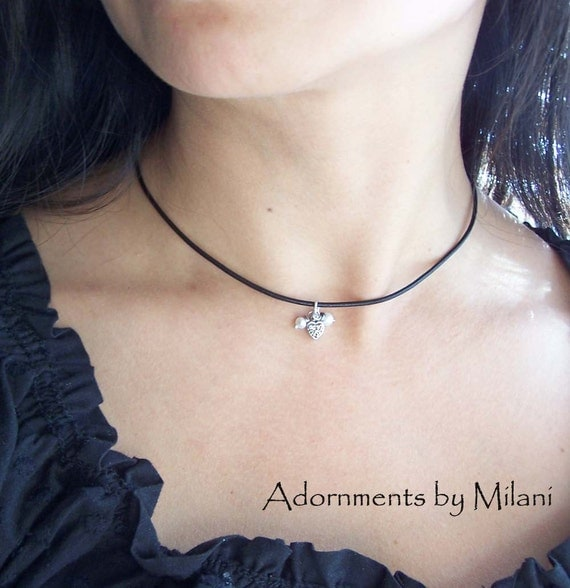 Tiny Heart Leather Necklace Small Pearl Black Sterling Silver Choose Your Color