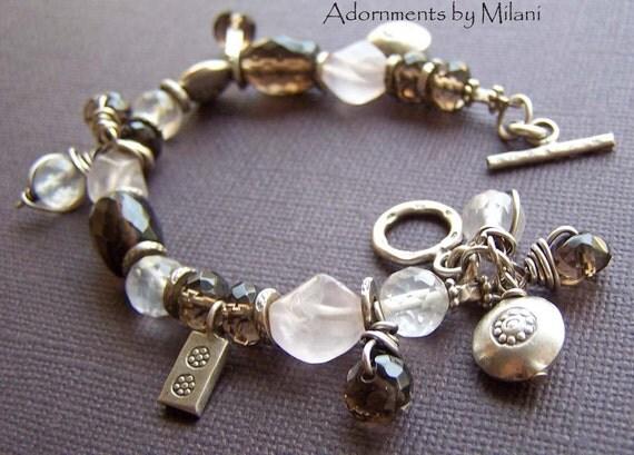 Brown Bracelet Neutral Asymmetrical Beaded Stones Sterling Silver - Mesmerized