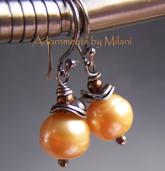 Golden Peach Pearl Earrings Yellow Apricot Brown Beaded Boutique Jewelry