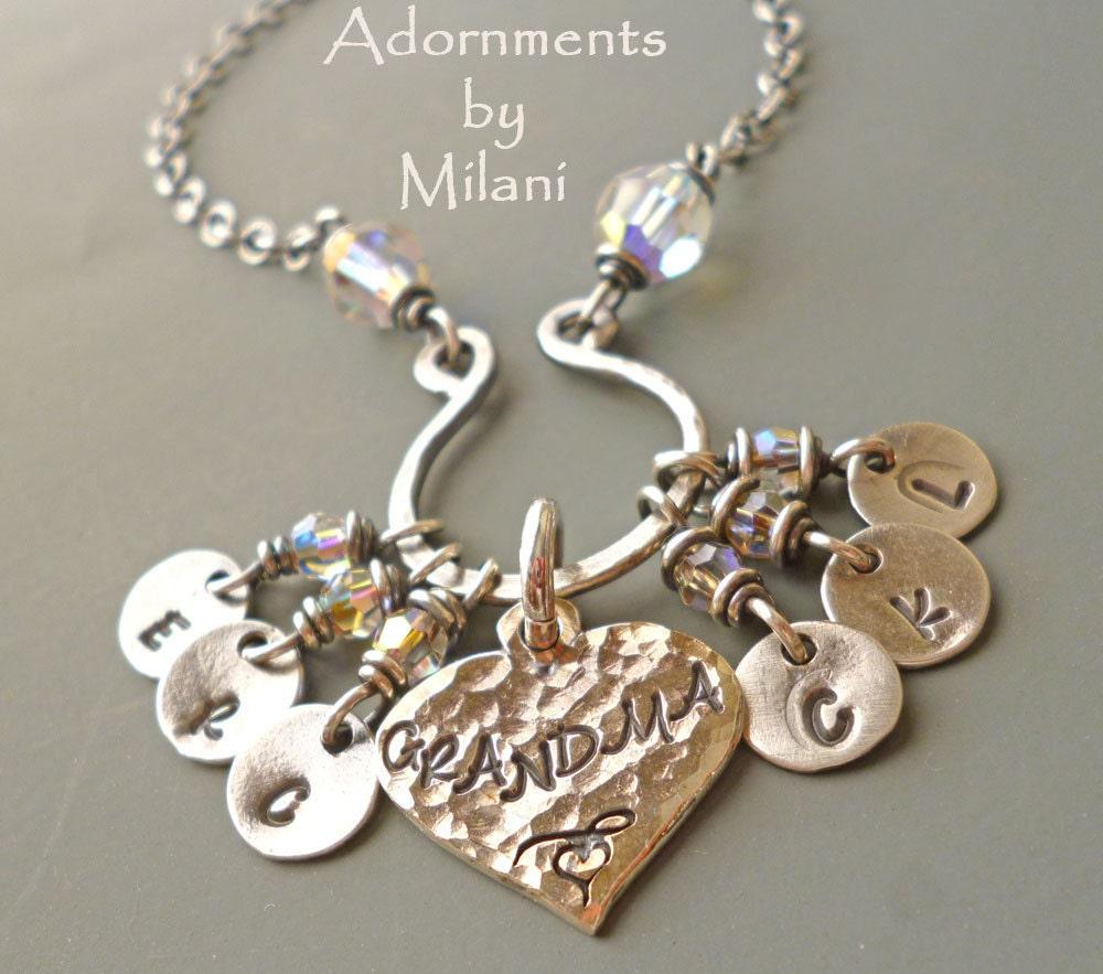 grandma necklace 6 grandchildren charms initials six children