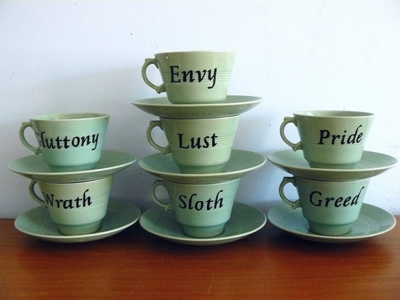 Seven Deadly Sins vintage tea set