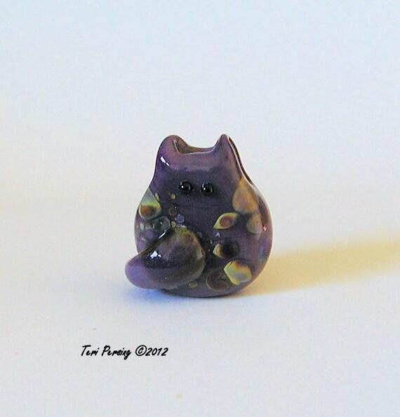 Cat Bead Handmade Lampwork Focal - Leith Itty Bitty FatCat