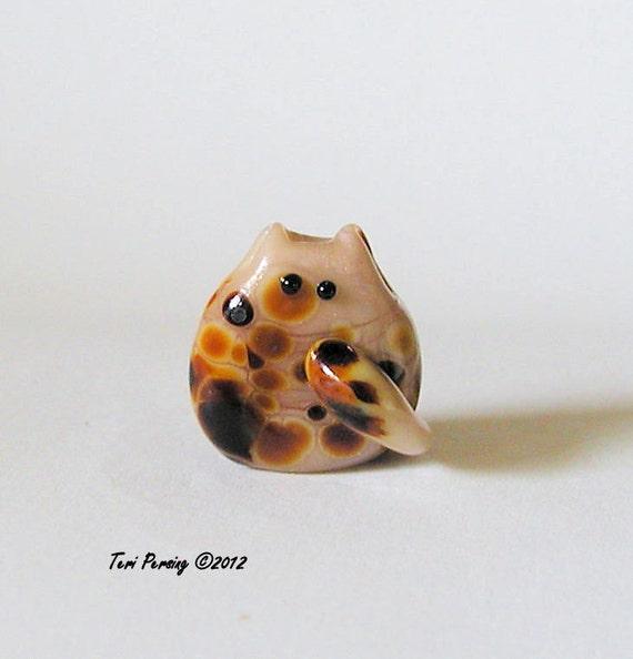 40% off SALE - Cat Bead Handmade Lampwork Focal - Damaris Itty Bitty FatCat