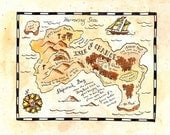 "Isle of Chance Treasure Map / 8"" x 10"" Print / Pirate Map / Nautical Art"