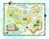 "The Fractious Islands Treasure Map / 8"" x 10"" Watercolor Print / Nautical Art / Imaginary Map / Pirate Map / Pirate Decor / Travel Art"