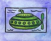"Steampunk Submarine No. 17 Original Mini 2.5"" x 3.5""  Watercolor Painting / Submarine Painting / Nautical Art"