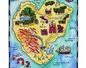 "Terra Romantica Map / 8"" x 10"" Watercolor Print / Love Map / Fantasy Art / Valentine's Gift / Anniversary Gift / Wedding Gift / Romantic Art"