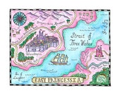"East Princessia Map / 8"" x 10"" Watercolor Print / Children's Art / Girl's Room Decor / Princess Art / Princess Decor / Fairy Tale Art"