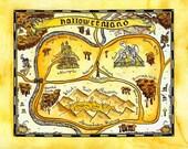 "Halloweenland Map 8"" x 10"" Print / Watercolor Map / Holiday Map / Halloween Art"