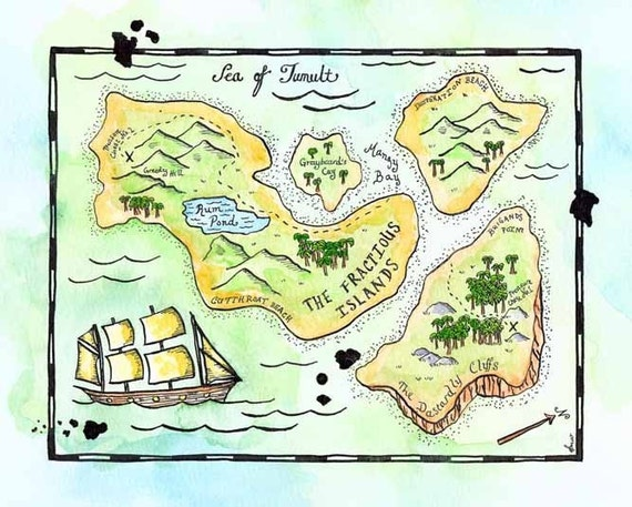 "The Fractious Islands Treasure Map / 8"" x 10"" Original Watercolor Painting / Pirate Art / Travel Art / Nautical Art / Desert Island Map"