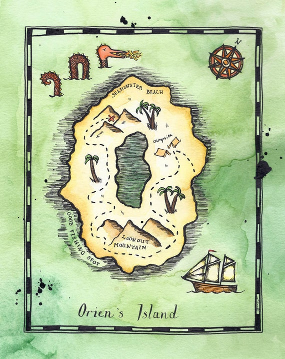 """CUSTOM SMALL Alphabet Treasure Map / 5"""" x 7"""" Pirate Map of Letter-Shaped Island / Personalized Art / Custom Map / Initial Letter"""
