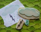 Hand Carved Stormy Cloud Stamp Set