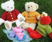 Knitting Pattern PDF Teddy Bear Doll Sweater in Three Styles