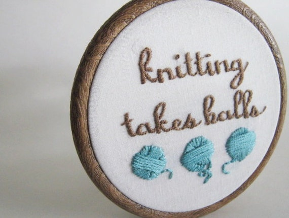 Hand Embroidered Knitting Takes Balls Hoop Art in Four Inch Frame