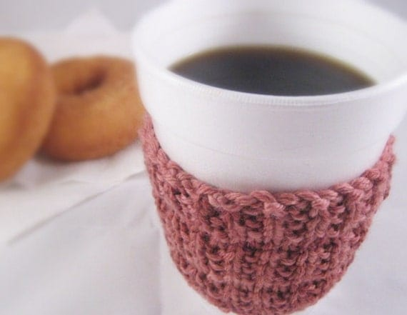 Knit Wool Coffee Cup Cozy in Pink Merino