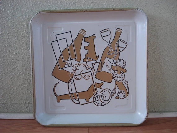 1950s Tin Cocktail Serving Tray
