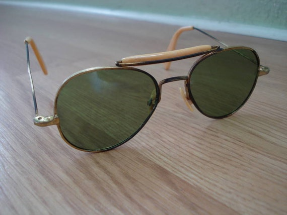 1950s Gold and Celluloid Aviator Sunglasses