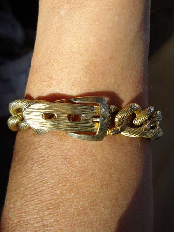 1970s Mens Gold Belt Buckle Cuff Bracelet 2012179