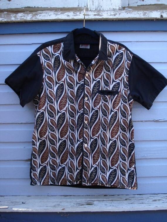 1950s Black Tiki Bud Berma Rockabilly Bowling Shirt Mens Medium 2012