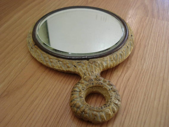 1930s Faux Antler Hand Mirror made of Chalkware