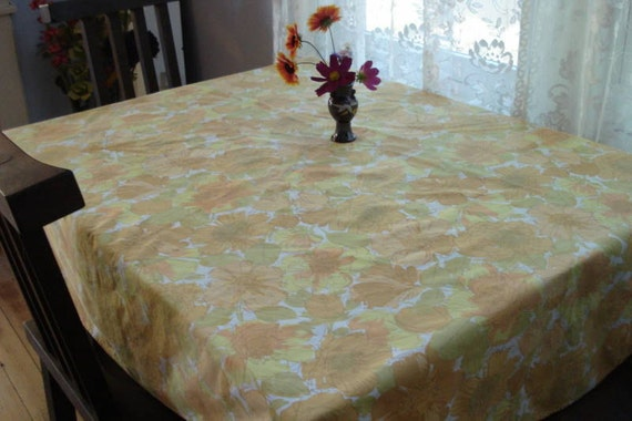 1960s Round Tablecloth Orange and Yellow Floral